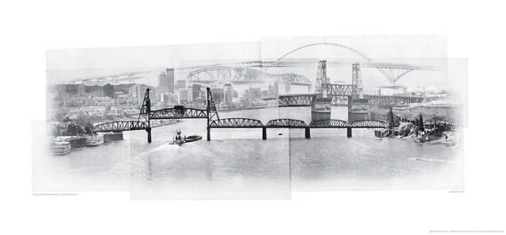 Art Poster Print - Crossing the Willamette, Portland Oregon