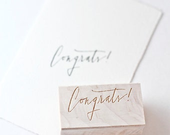 Hand-lettered congrats rubberstamp, modern calligraphy