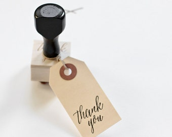 Thank you stamp with handle, modern calligraphy hand stamp
