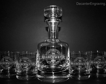 Custom Engraved Crystal Decanter Set - Groomsmen Gifts