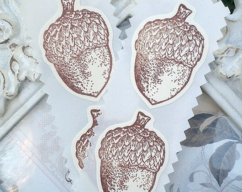 Fall Acorn Sticker Labels / Seals - Cottage Shabby Chic - Vintage Inspired - Set of 12