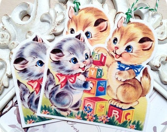 Vintage Kitten Gift Tags - Set of 6 - Cat Gift Tags-Baby Gift Tags-Gift Tags for Kids-Animal Lover Gift Tags-Cat Embellishment-Cat Die Cut