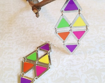 Triangle Dangle Earrings. Neon Colors. Hot Pink. Purple. Green. Yellow. Silver. Silver Triangles. Geometric. 10 Dollars. Gifts for Her.
