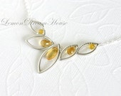November Birthstone Necklace, Citrine Marquise, Drop Briolettes, Rondelles, Silver Marquise Leaf Link, Sterling Silver Chain. Gift. N057.
