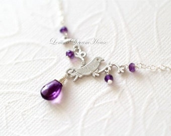 February Birthstone Necklace, Amethyst Faceted Pear Briolette, Rondelles, Silver Bird on Twig Pendant Link, Sterling Silver Chain. N107.