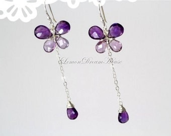 February Birthstone. Gemstone Butterfly Earrings, African Amethyst Pear, Pink Amethyst Pear, Sterling Silver Earwires. Nature Inspired. E174