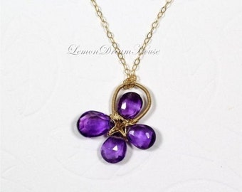 February Birthstone. Gemstone Clover Necklace, African Amethyst Faceted Pear Briolettes, Gold-filled Wire and Chain. Nature Inspired. N127.