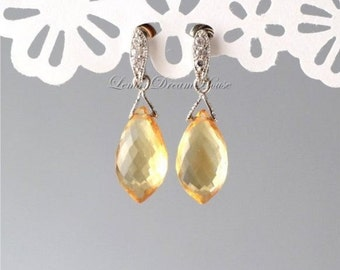 November Birthstone. Gemstone Earrings, Citrine Micro Faceted Dolphin Briolettes, Silver Earrings with Cubic Zirconia, Sterling Posts. E182.