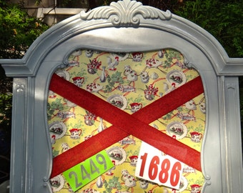 Bulletin Board, Padded Message Board, LARGE Message Center, Leaner Board, Idea Board, Office Organizer, Gray Red Yellow, Cats Tea Cup