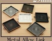10 SQUARE 25mm Bracelet Link Bezel Blanks - Metal ALLOY. Perfect for Glass Tiles and Interchangeable Bracelets