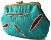 New Evening Purse Clutch Bag Handbag Embroidered Light Blue