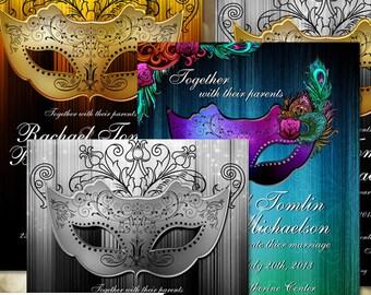 Masquerade Invitation, Printable Party Invitation,  Gold, silver, Peacock, Masquerade Wedding theme, Costume Party Invite, DIY Invitation