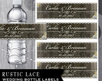 Rustic Wedding Water Bottle Labels -Rustic wood with lace and flowers-personalization available-flower colors can be changed.