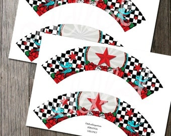 Rockabilly Vintage Cupcake Wrapper - 2 styles - instant download - Great for Sweet Tables, weddings & any occasion!