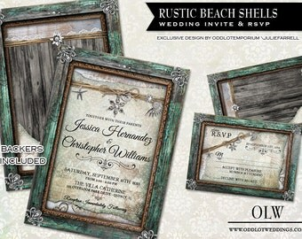 Rustic Beach Wedding Invitation And RSVP Card