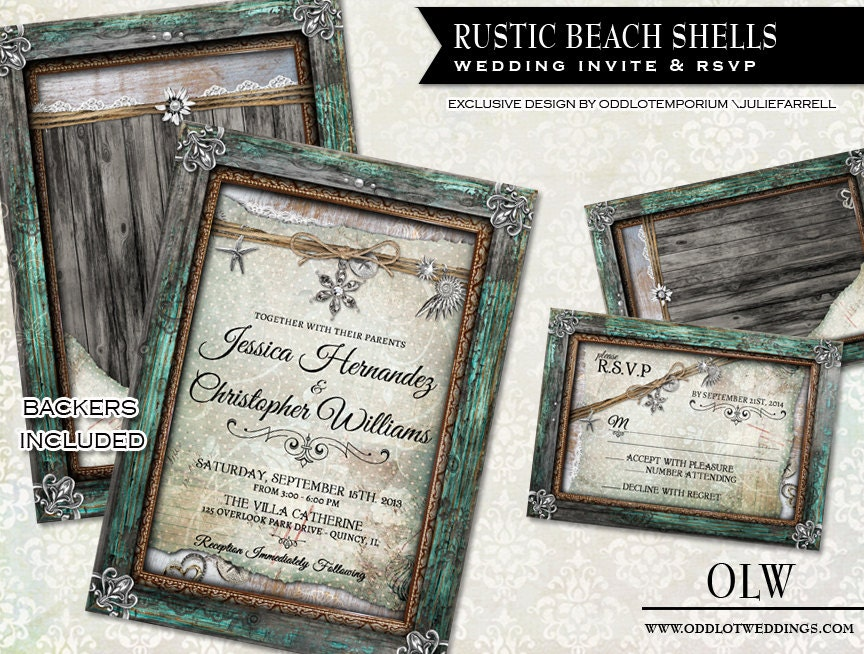 Wedding Invitations Country Theme: Rustic Beach Wedding Invitation And RSVP Card With Shells