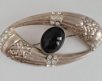 Vintage Embossed Metal Black Onyx Rhinestones Broooch Pin