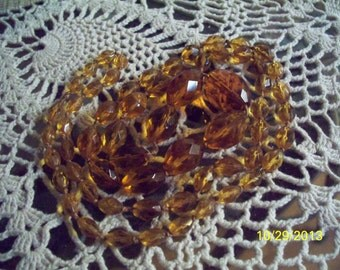 """Vintage 38"""" Amber-Colored Glass Bead Necklace"""