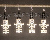 CLEARANCE: Halloween earrings, black bat, white skull and torso