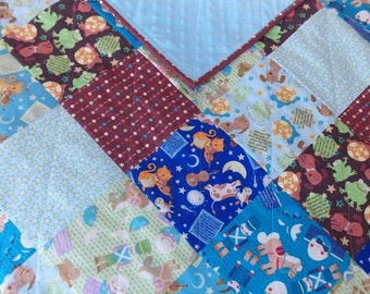 Baby Boy Quilt - Nursery Rhyme - Blue - Brown - Humpty Dumpty - Cows - Cats - Frogs - Minky
