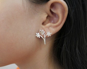 Tree earrings Tree of life earrings Gift for women Floral jewelry mom Nature earrings stud Botanical jewelry Forest jewelry Woodlands