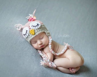 Baby Owl Hat with Flower -Photo Props, Photography Props, Pink, Newborn Owl Hat, Sleepy Owl Hat, Animal Hat ( available in different color )