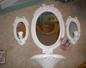SALE......Beautiful Vintage Home Interiors 4 piece Mirror/Sconce/Shelf Set,  Baby Nursery, Shabby Baby, Shabby Chic, French Country