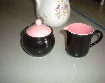Lovely Vintage  Pink and Black Creamer and Sugar Set, Shabby Chic, French Country, Eclectic