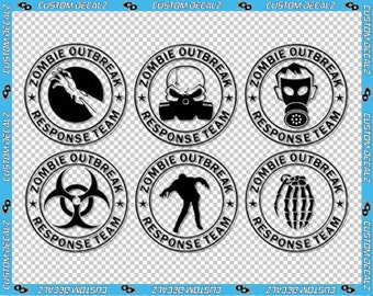 "3"" x 3"" each 6 Pack - Zombie Outbreak Response Team Vinyl Decal / Apocalypse Decal / Zombie Decal/ Zombie Stickers / Laptop Decal"