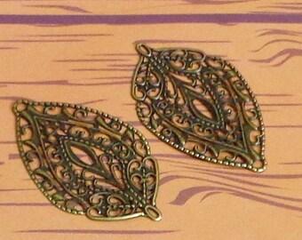 SALE - 12pc- Antique bronze color Filigree, leaf drop, leaf connector, pendant, link and more...