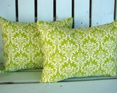 """Set of 2 12"""" X 16""""  lumbar chartreuse green and white Madison print -Christmas pillow-decorative pillow cover-gifts under 40-throw pillow"""