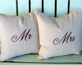 16x16 mr and mrs embroidered monogram pillow- Holiday gift-wedding gift- decorative cover-housewarming gift-throw pillow-accent pillow