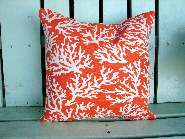 Coral Pattern Fabric 16 x 16 orange white coral reef print designer