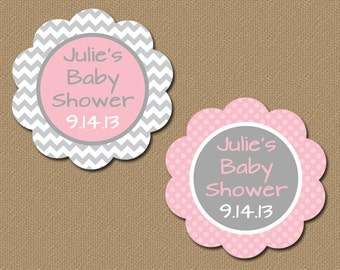Personalized Baby Shower Party Favor Tags, Printable Pink U0026 Gray Chevron  Tags, DIY Baby