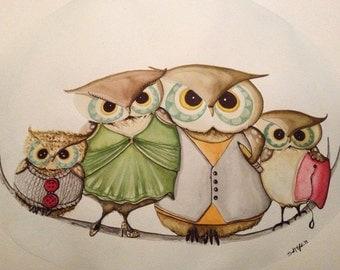 Custom watercolor owl portrait painting