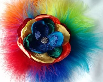 Rainbow fun flower, rainbow flower and feathers, rainbow wedding accessory/photography prop, satin and lace feathered fascinator