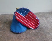 Red White & Blue Baby Booties, Star Spangled Banner Booties, Felt American Flag, Patriotic Baby Shoes, Felt UK Flag, Union Jack Baby Shoes,