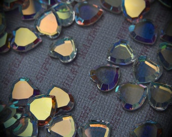 4816 10mm Genuine Swarovski Crystals Aurore Boreale Heart Unfoiled Rhinestone