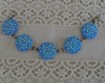Czech Glass Button Bracelet Blue
