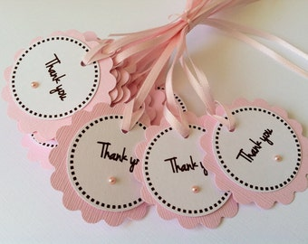 20 Pink Baby Shower Thank You Tags with Pink Pearl.  Baby Shower Favor Tags.  Bridal Shower Tags.