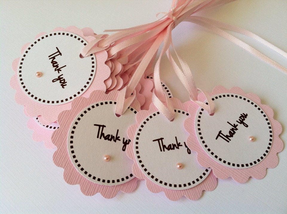 20 pink baby shower thank you tags with pink pearl baby