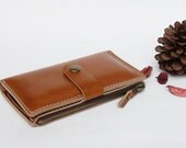 Beige Leather iPhone wallet case with zipper pocket - iPhone4/4s, iPhone5/5s (for all iPhone models)