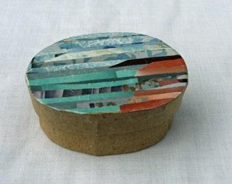 Ubiquitous Beach Paper Collage Treasure Trinket Keepsake Box.