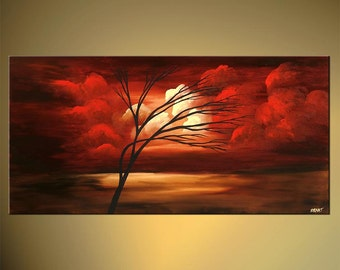 """Original Tree Painting Red Landscape Abstract Contemporary Acrylic Painting by Osnat - MADE-TO-ORDER - 48""""x24"""""""
