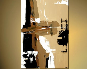 "Contemporary Abstract Acrylic Painting  Brown, White, Black, Cream by Osnat Ready to Hang 40""  - MADE-TO-ORDER"