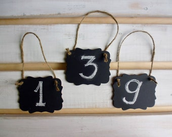 3 CHALKBOARDS Wedding Table Numbers  Wedding Table Decor, Mini Scroll Table Numbers, Gift Tags, Favor Tags