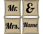 Mr. & Mrs. Pillow Set in Floral Paper