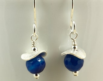 Small Cobalt Blue Agate Earrings with Sterling Silver, Drop Earrings, Dangle Earrings, Tiny Earrings