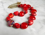 Red Lampwork Bead Necklace: Red Coral - Statement Necklace - Boho Jewelry - Red Necklace - Unique Jewelry - Strand Necklace - Mothers Day