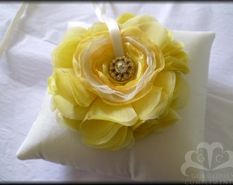 Ivory and Summer Yellow Ring Pillow Ready Made